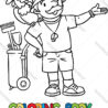 coloring book funny zoo keeper with parrot vector image scanned shadow color sheet coloring pages Zoo Keeper Coloring Page