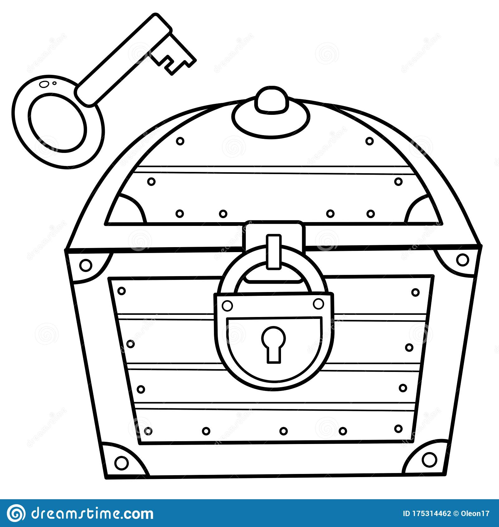 coloring outline of chest with closed coffer lock decorative element for pirate party coloring pages Lock Coloring Page