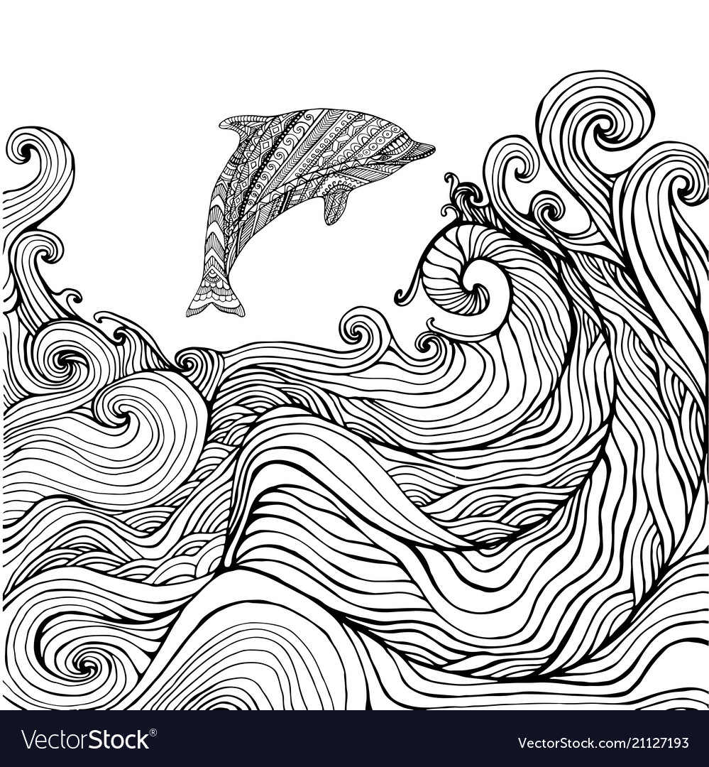 dolphin and waves coloring for children vector easter designs to color thanksgiving bingo coloring pages Ocean Waves Coloring Page