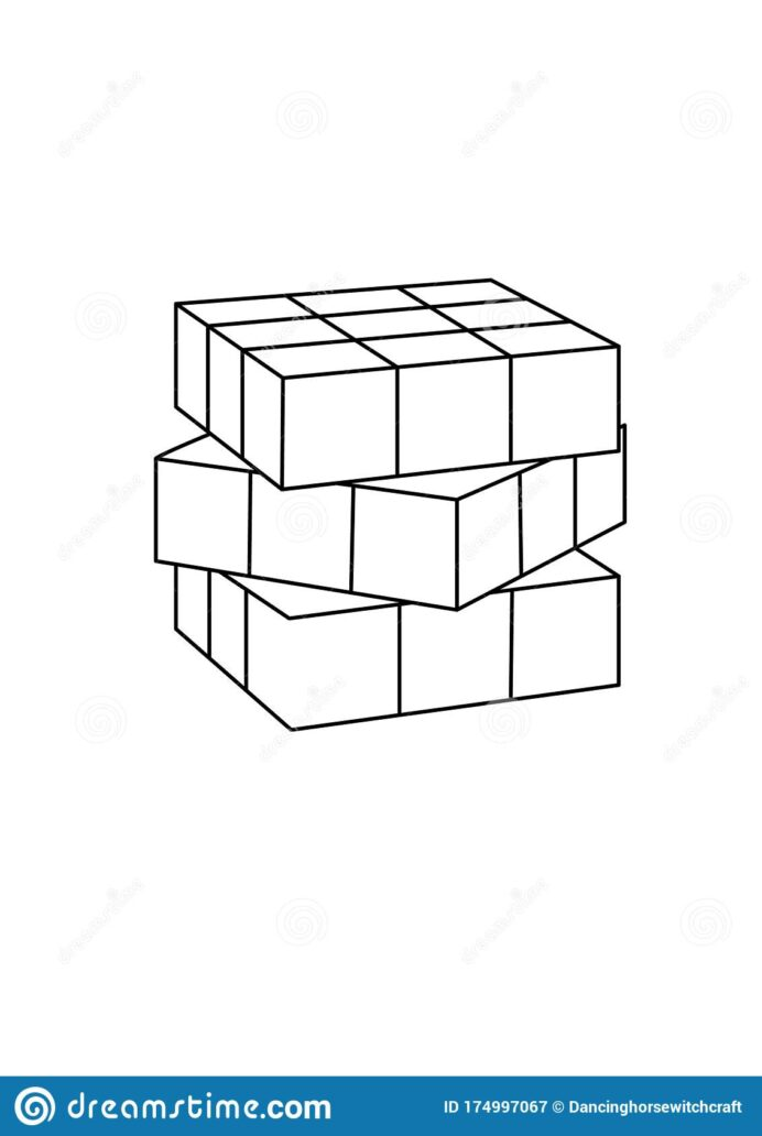 rubik cube toys black and lineart drawing illustration drawn coloring in editorial coloring pages Rubiks Cube Coloring Page