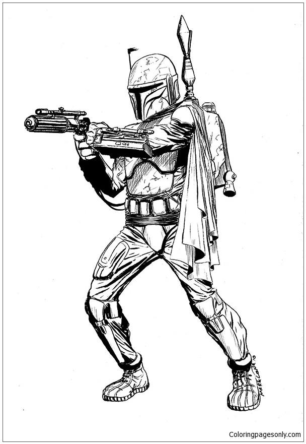 star wars jango fett coloring cartoons for kids and adults fett00 funney colering coloring pages Jango Fett Coloring Page